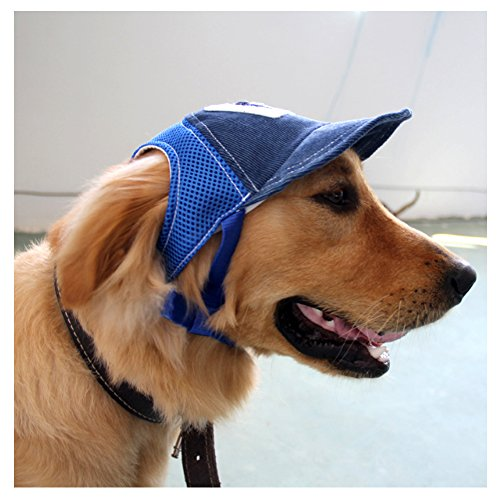 Mikayoo Dog Sun Hat,Jeans Adjustable Pet Dog Sport Baseball Outdoor Sun Protection Hat/Cap(Blue,M) by Mikayoo