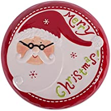 DII Santa Christmas Cake Stand Platter For serving, Holiday Christmas Décor - Red Santa