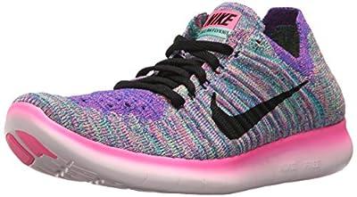 Nike Women's Free Running Motion Flyknit Shoes, Pink Blast/Black/Racer Blue/Clear Jade - 6.5 B(M) US