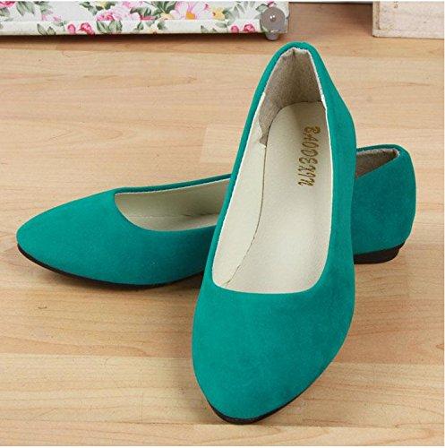 casual mocassini da LvYuan carriera amp; ufficio pelle green moda da comodità pigro Scarpe piatto scamosciata ginnastica CN39 camminate scarpe casual scarpe donna tacco amp; TTO6wq
