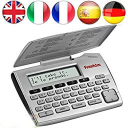 Franklin 5-Language Electronic Translator English German French Spanish Italian 5-Language European Translator Device - Silver ET2105