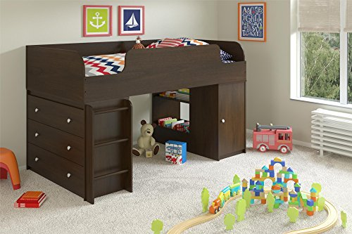 Cosco Products Elements Loft Bed with 3-Drawer Dresser an...
