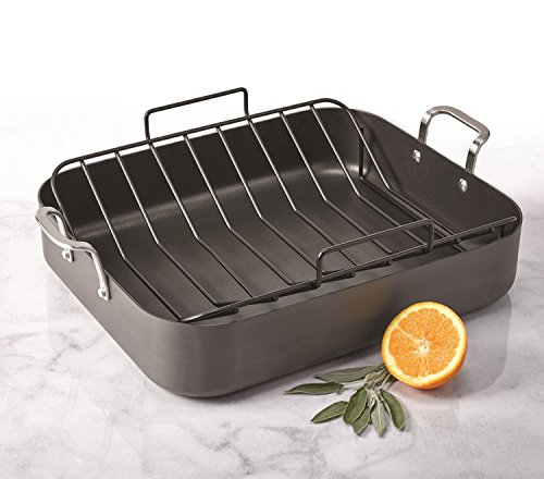 Oneida 16.5-inch 13.5-inch Hard Anodized Aluminum Roaster with Non-Stick U-rack