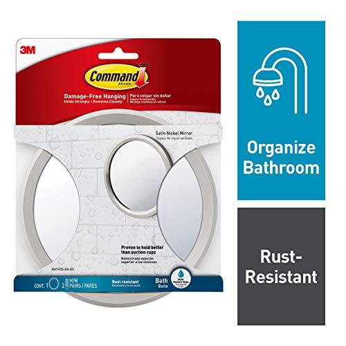 Command Bath Mirror, Satin Nickel, 1-Mirror, 2-Sets of Medium Water-Resistant Strips -