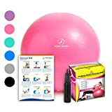 Exercise Ball – Professional Grade Anti-Burst Fitness, Balance Ball for Pilates, Yoga, Birthing, Stability Gym Workout Training and Physical Therapy (Pink, 65cm) For Sale