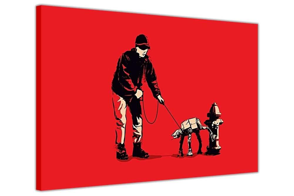 Rot auf Leinwand, Banksy Prints Man Walking Imperial AT-AT Dog Star ...