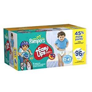 Pampers Easy Ups Trainers for Boys Value Pack,96 Count, Size 5 (3T-4T)