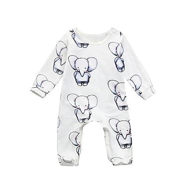 QinMM bebé niña niños Pijama Pelele Elefante Impreso Mono Body de una Pieza (Blanco,