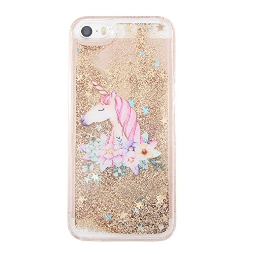 iPhone 5S Case,iPhone 5 Case, iPhone SE Case uCOLOR Gold Glitter Floral Unicorn Waterfall Hard Cover Clear Case for iPhone SE/5S/5