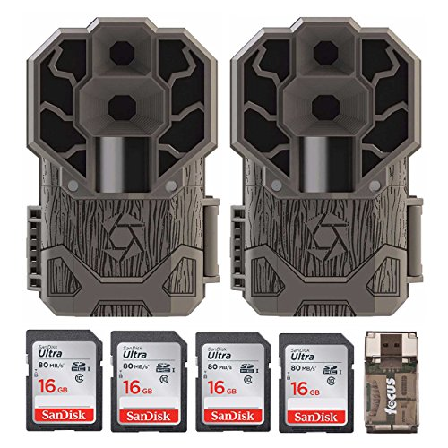 Cheap Stealth Cam Dual Sensor STC-DS4K Trail Camera, 30 MP/4K Ultra HD 2-Pack + Four 16GB Cards and Focus USB Reader