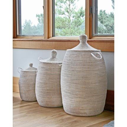 African Basket - White - Medium - Fair Trade