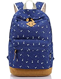 Leaper Lightweight Canvas Laptop Backpack Cute School Bags Deer Navy Blue