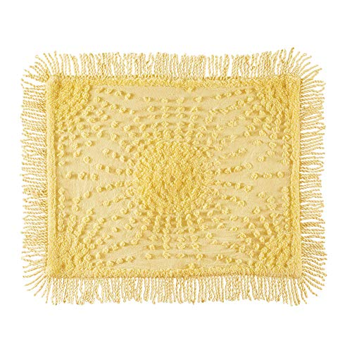 Collections Etc Solid-Colored Sunburst Chenille Fringe Border Pillow Sham - Year-Round Décor for Bedroom, Yellow, Sham (Chenille Sham)
