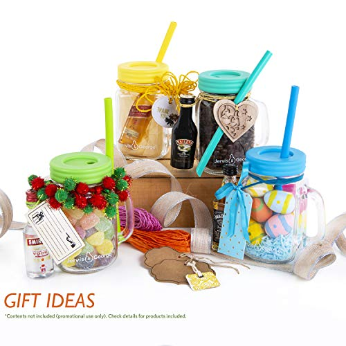 16oz Glass Mason Jar Drinking Cups/Mug with Handle + Plastic Straw Lids + Silicone Straws + Cleaning Brush - No Rust, Plastic lids, Fun Drinks + Gift Ideas (6 Pack)