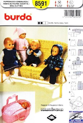 Amazon Burda 8591 Doll Clothes Sewing Pattern Baby Doll