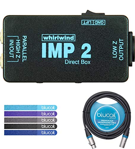 (Whirlwind IMP 2 Passive Direct Box with 1-Channel Bundle with Blucoil Audio 10ft Balanced XLR Cable and 5 Pack of Reusable Cable)