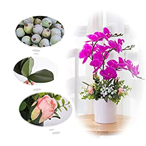 YUYAO Artificial Orchid Bonsai with Vase Real Touch Fake Orchids Flowers PU Phalaenopsis Bonsai Arrangement for Home Office Table Party Decoration (White, 2) 5