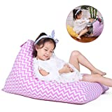 Stuffed Animal Bean Bag Storage for Kids and Adults. Premium Canvas Bean Bag Chair Cover - Cover ONLY ( Chevron Print Pink 100L/26 Gal )