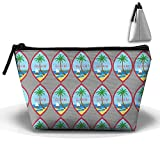 LogicBB Coat Of Arms Of Guam Print Makeup Bag Travel Cosmetic Pouch Storage Brush Holder Toiletries Bag Waterproof Jewelry Organizer With Zipper For Women&Girls