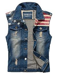 Sawadikaa Men's Vintage Denim Vest Jean Jacket Waistcoat Cowboy Jacket Outerwear