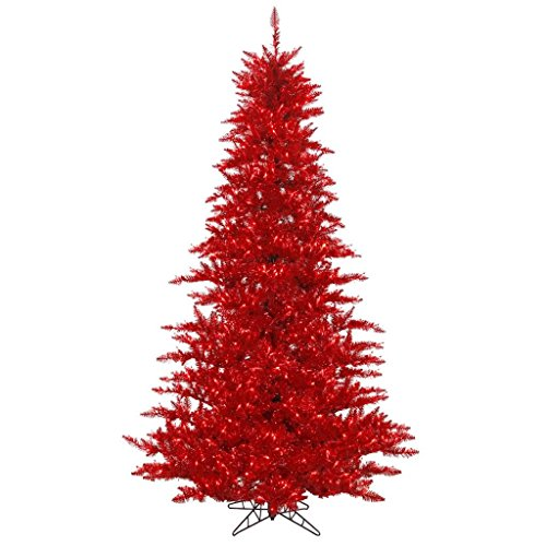 """Vickerman 436639 - 90"""" Tinsel Red Tree with 250 Red LED Lights Christmas Tree (K165146LED)"""