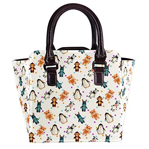 Nananma Schultertasche mit Tragegriff für Damen, Leder, mit niedlichen Tieren, Affe, Pinguin, Handtasche