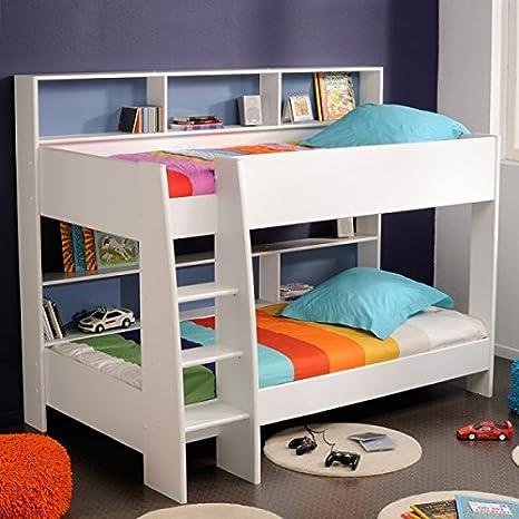 Colour blanco con estantes de vidrio de litera + trasera + suelo para colchones de Stock ...