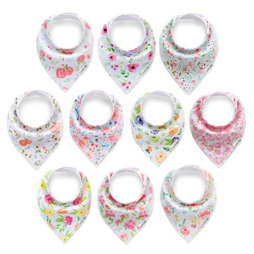 HAN-MM 10-Pack Baby Girl Bandana Drool Bibs for Drooling and Teething, Blossom Set,100% Organic Cotton and Super Absorbent Hypoallergenic Bibs Baby Shower Gift