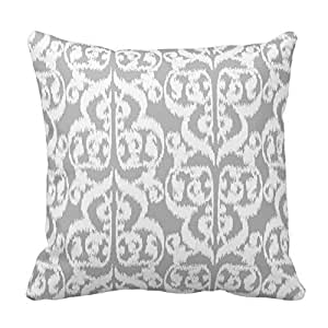 Fuzzy Gray and White Floral Pattern Throw Pillow Case Covers Flower Design Home Sofa Decorative Square 18x18 Two Sides
