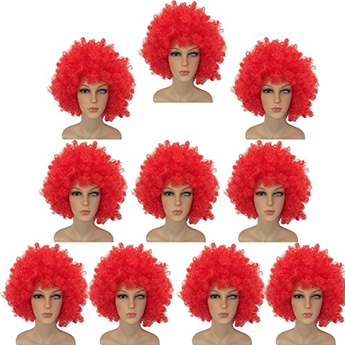 Football fan's 10pack red enlarge wild-curl up full volume colorful cosplay clown wigs cap for dress up party (Adult Dressup)