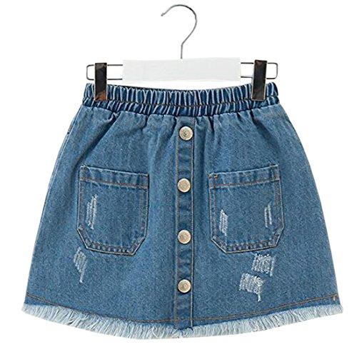 ACVIP Girl's Denim Abrased Brim Pockets Buttons Decorated Elastic Skirt (8-9 Years) by ACVIP (Image #4)