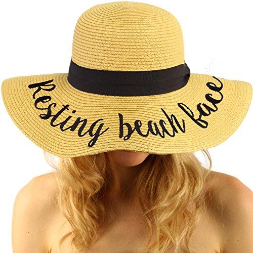 Beach Womens Hat (C.C Fun Verbiage Elegant Wide Brim 4\ Summer Derby Beach Pool Floppy Dress Sun Hat Natural (R))