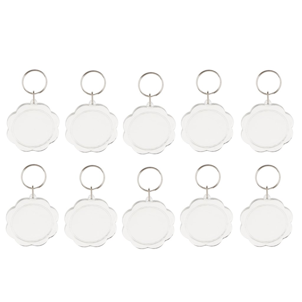 Jili Online 10Pieces Flower Transparent Clear Acrylic Blank DIY Photo Picture Frame Key Chains Key Rings Crafts