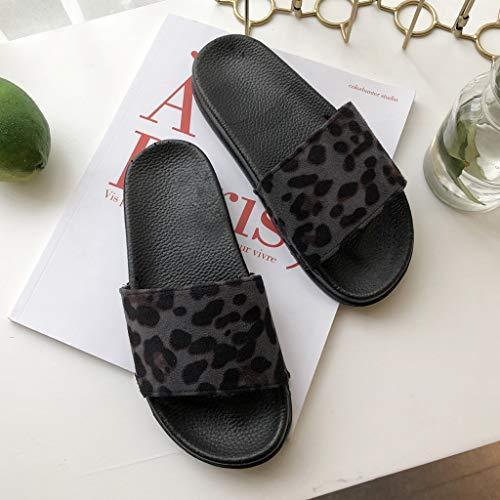 Cewtolkar Women Shoes Leopard Slippers Outdoor Flip Flops Peep Toe Sandals Loafers Shoes Soft Slippers Beach Flip Flops Black by Cewtolkar (Image #4)