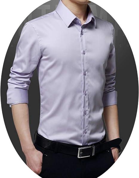 HZYY Camisa de Manga Larga para Hombre, Estilo Informal para Negocios, para Novios de Boda, para Hombre, Color Morado, 5 XL: Amazon.es: Deportes y aire libre
