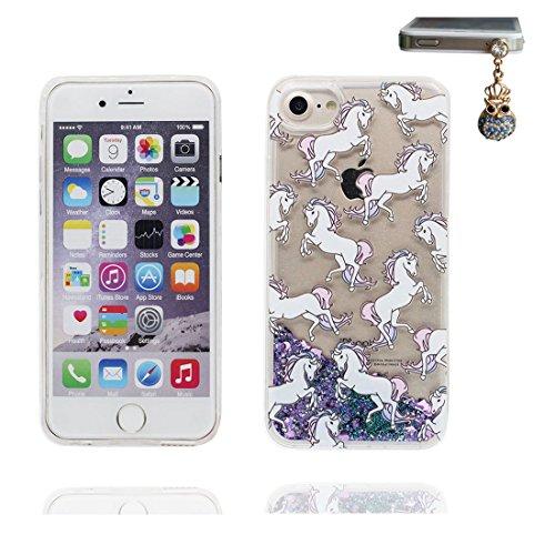"""iPhone 6 Plus Coque, Bling Glitter iPhone 6s Plus étui Cover (5.5""""), Fluide Liquide Sparkles Sables iPhone 6 Plus Case (5.5"""")-(Horse cheval), Shell anti- chocs et Bouchon anti-poussière"""