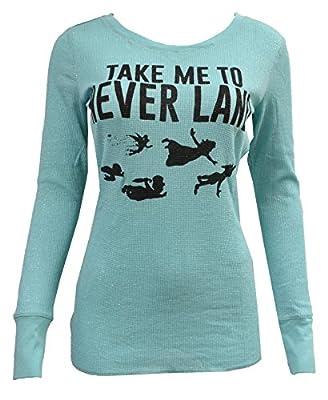 Disney Women's Juniors Take Me To Never Land Glitter Thermal Shirt
