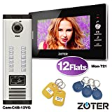 "ZOTER Wired 7"" Inch LCD Monitor 600TVL Camera Video Door Bell Phone Intercom Access Control Home House Gate Entry Security Kit RFID Card System for 12 Families Apartments"