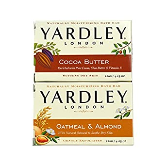 Yardley London - Barra de baño de jabón – 2 barras: avena y almendra y