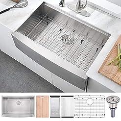 Farmhouse Kitchen 30 Inch 16 Gauge Stainless Steel Workstation Farmhouse Apron Kitchen Sink—BoomHoze Handmade Deep Single Bowl Kitchen… farmhouse kitchen sinks