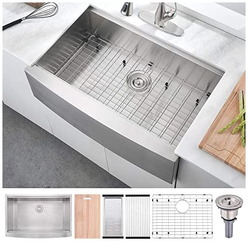 Farmhouse Kitchen 30 Inch 16 Gauge Stainless Steel Workstation Farmhouse Apron Kitchen Sink—BoomHoze Handmade Deep Single Bowl Kitchen… farmhouse kitchen sinks