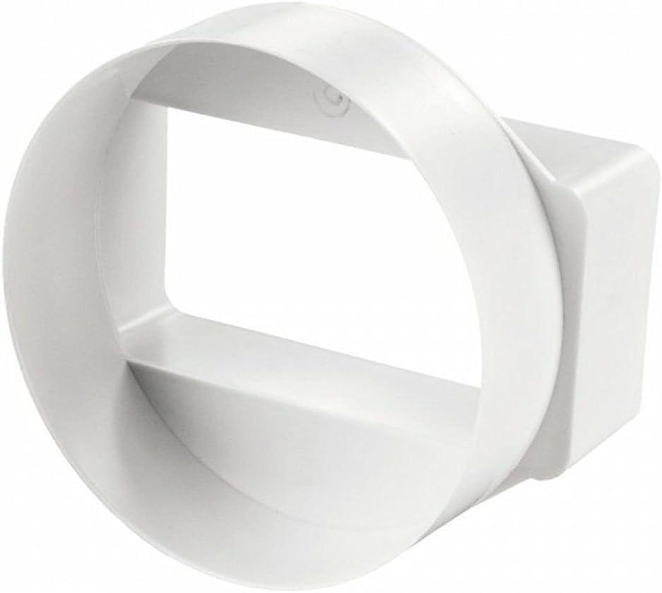 Invero - Adaptador de conducto horizontal corto redondo a rectangular, 110 x 54 mm, color blanco