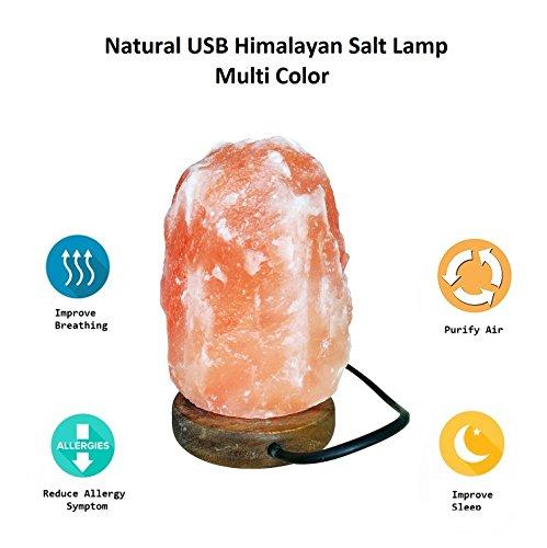 Salt Lamps For Newborns : HOCINA Natural Himalayan Rock Salt Mini Lamp Multi Color Change with Wood Base, USB Powered ...