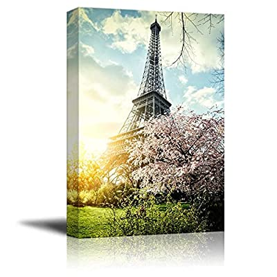 Canvas Prints Wall Art - Springtime in Paris with Eiffel Tower Retro Style | Modern Wall Decor/Home Decoration Stretched Gallery Canvas Wrap Giclee Print & Ready to Hang - 36