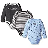 Calvin Klein Baby Boys' Assorted Long Sleeve Bodysuit, Blue/Gray, 6-9 Months (Pack of 3)