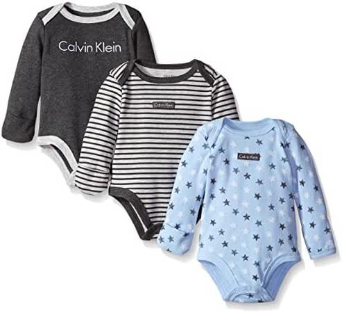 Calvin Klein Baby Boys' Assorted Long Sleeve Bodysuit (Pack of 3)