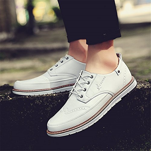 Grey Pure Business lavoro Lace up Scarpe Estate leggero XUE Brown B Casual Pure PU Black Shoe Bianco Primavera Traspirante Pure uomo Business Scarpe formale da gv6qYR