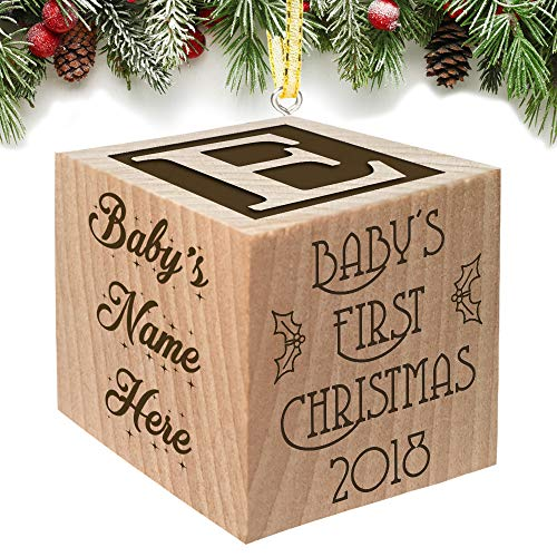 Baby's First Christmas Ornament 2019 - Christmas in July - Keepsake Personalized Baby Block Custom Engraved Wooden for Newborn Infant Boy, Girl, Mom, Dad, Grandparent 2018 1st Gift Date by Glitzby