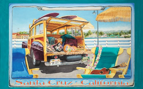 Northwest Art Mall Santa Cruz California Surfer Girl on License Plate Artwork by Evelyn Jenkins Drew, 11-Inch by - Malls La In California