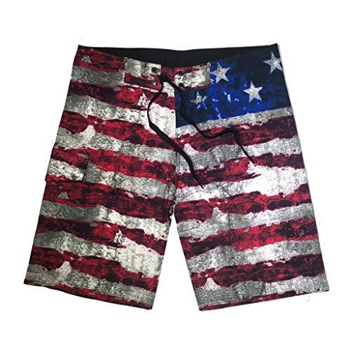 JJLIKER Men's Patriotic USA American Flag Surf Swim Trunks Volley Board Shorts Quick Dry Bathing Suit Boardshorts - Short Evisu Men